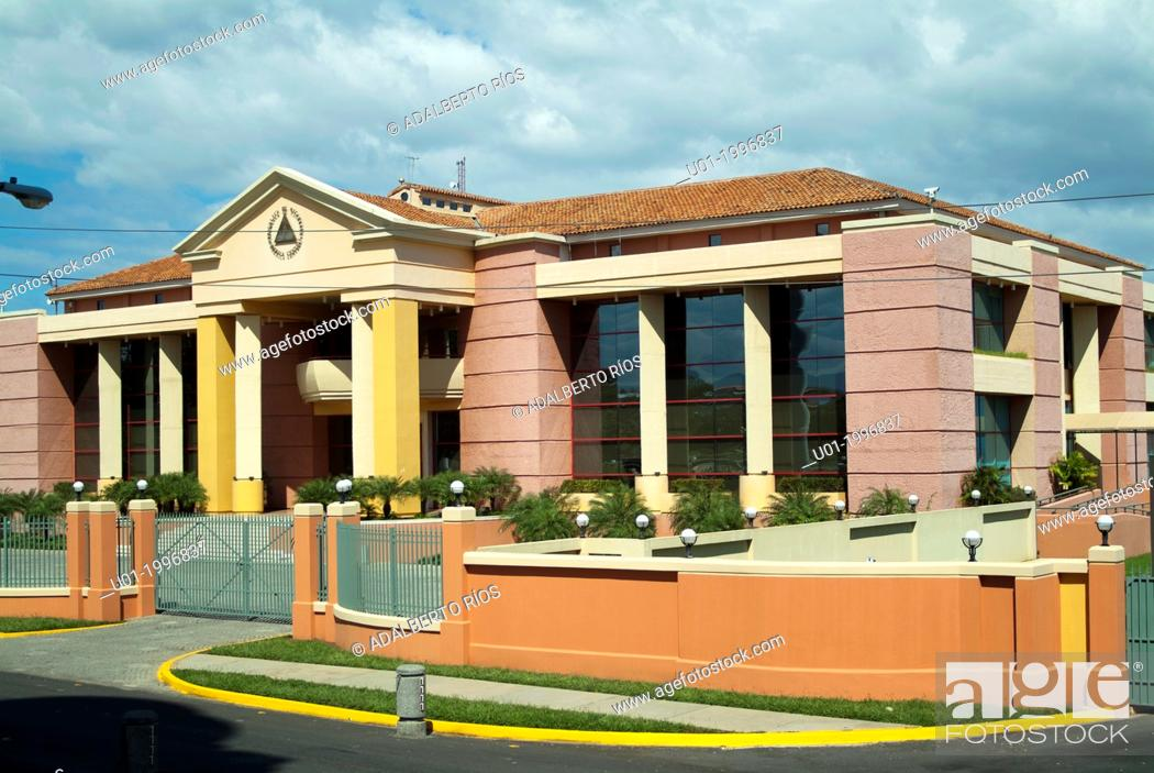 Stock Photo: The Presidential Palace of Nicaragua, Managua, was built in the Plaza de la Republica in 2000 with the financial support of ten million Taiwan dollars.