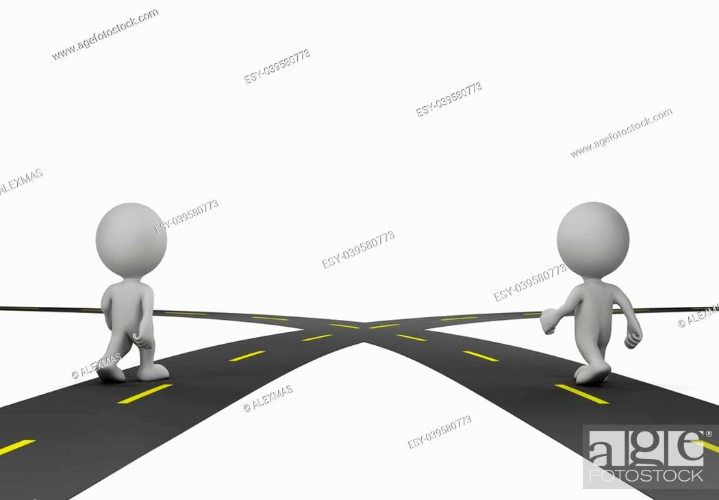Stock Photo: Two people at the crossroads. 3d image. White background.