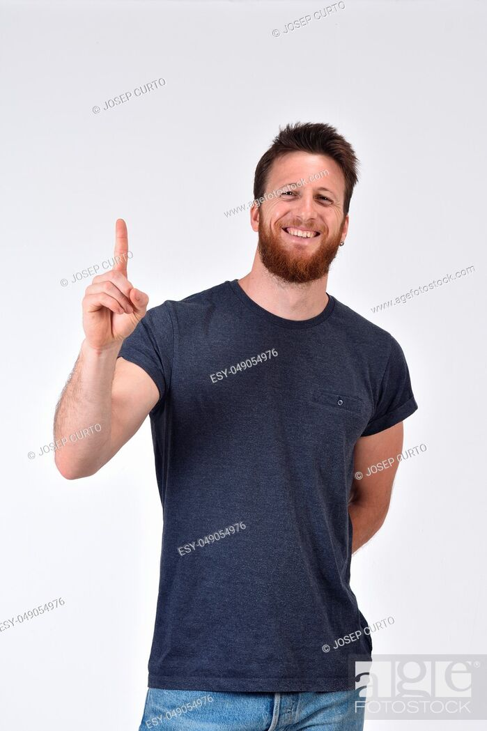 Photo de stock: Man with finger in the shape of number one.