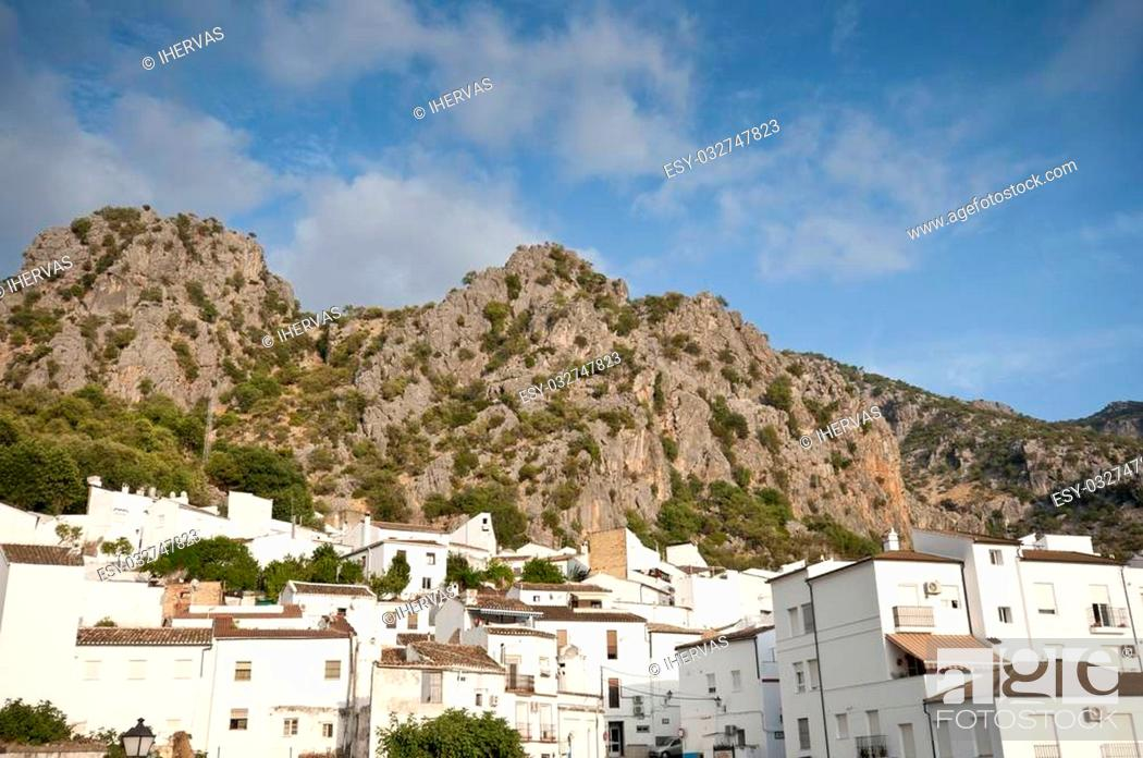 Stock Photo: Views of Ubrique, Cadiz. This village is part of the pueblos blancos (white towns) in southern Spain Andalusia region, and reminds the Arab past.