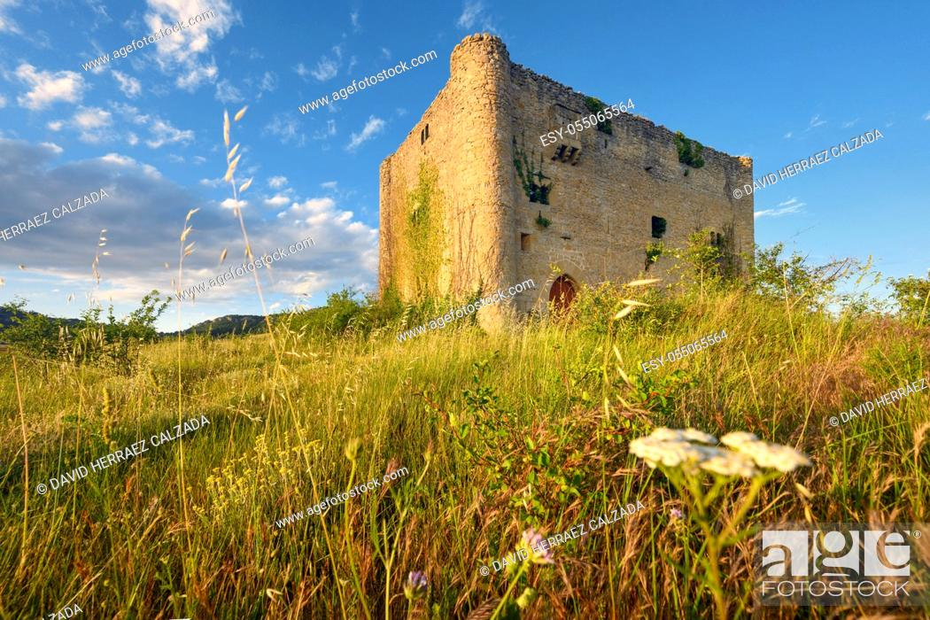 Stock Photo: Scenic landscape of a medieval tower at sunset. High quality photo.