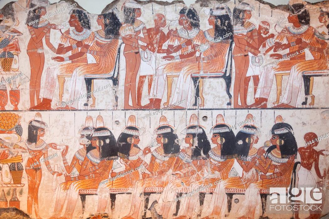 Stock Photo: England, Europe, London, British Museum, The Tomb of Nebamun, Painting of Guests.