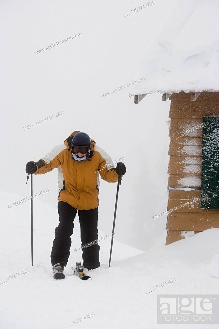 Stock Photo: Skier by cabin.