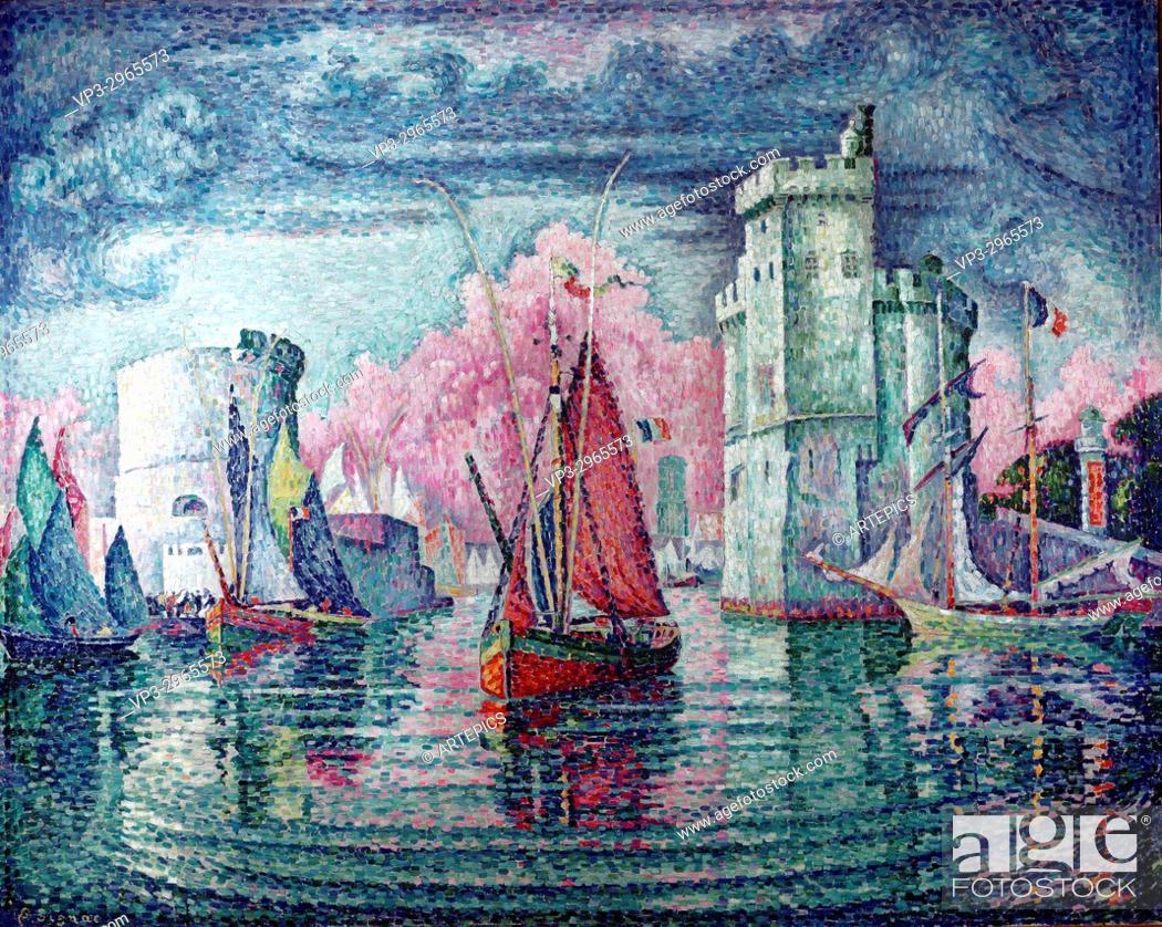 Stock Photo: Paul Signac - . The harbour at La Rochelle. - . 1921. . .