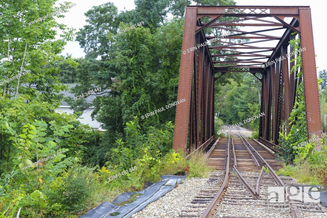 Stock Photo: Railroad bridge, near today's Common Man Inn & Spa, along the old Pemigewasset Valley Railroad in Plymouth, New Hampshire.