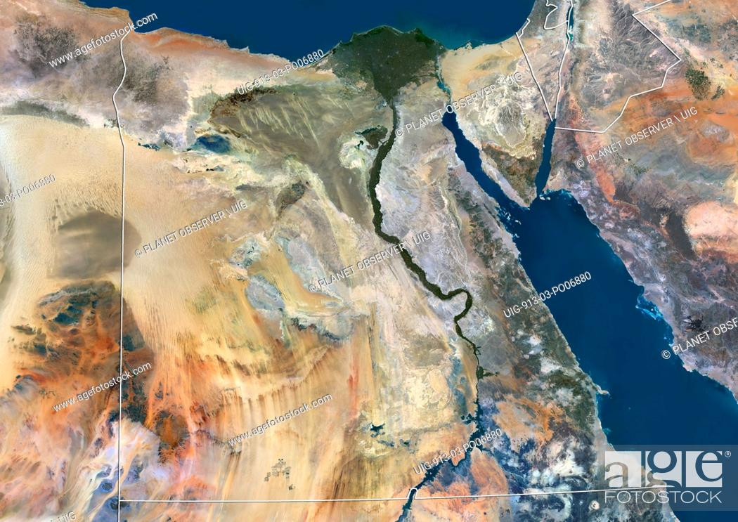 Imagen: Satellite view of Egypt (with country boundaries). This image was compiled from data acquired by Landsat 8 satellite in 2014.