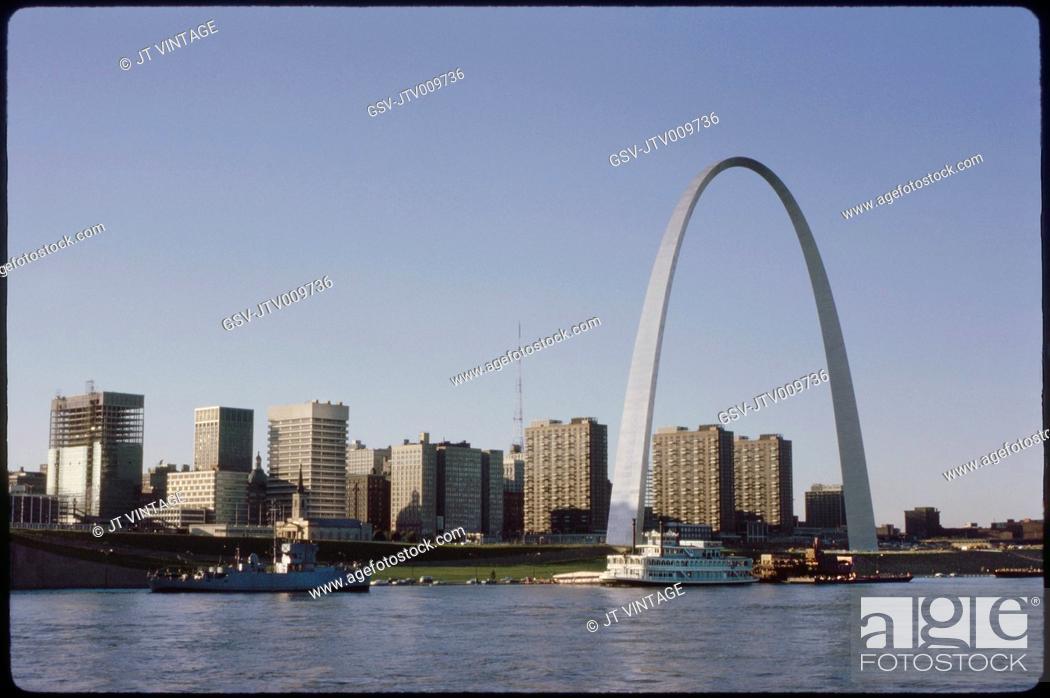 Stock Photo: Skyline and Arch, Saint Louis, Missouri, USA, 1970.
