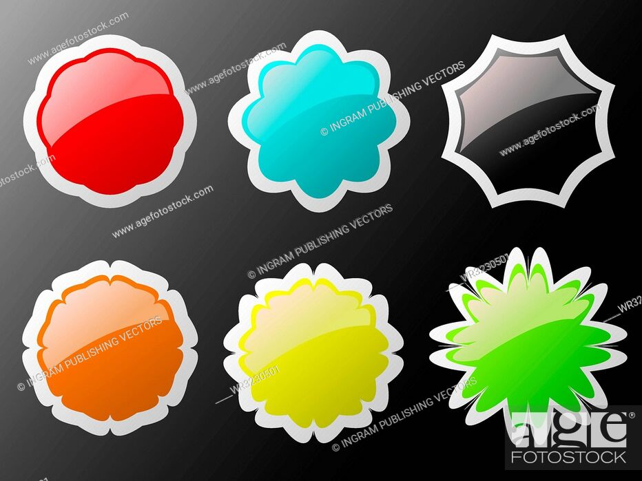 Vector: Collection of six buttons in different colors with a white border.
