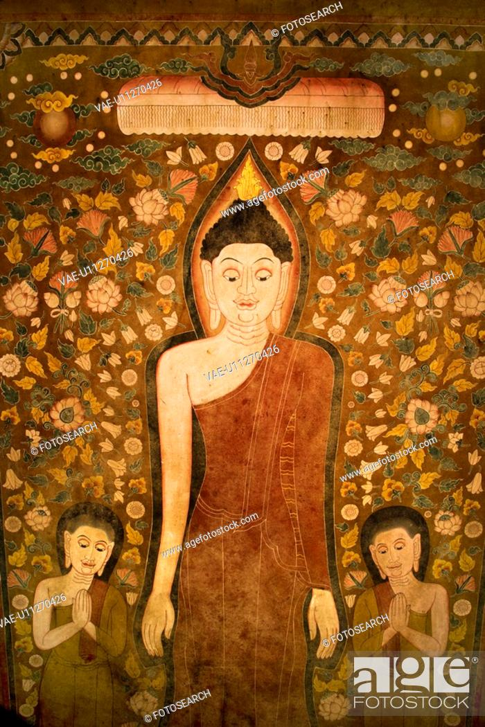 Stock Photo: Buddha and two disciples on old temple cotton scroll from Thailand.