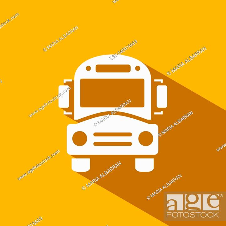Stock Vector: Bus school icon with shadow on yellow background.
