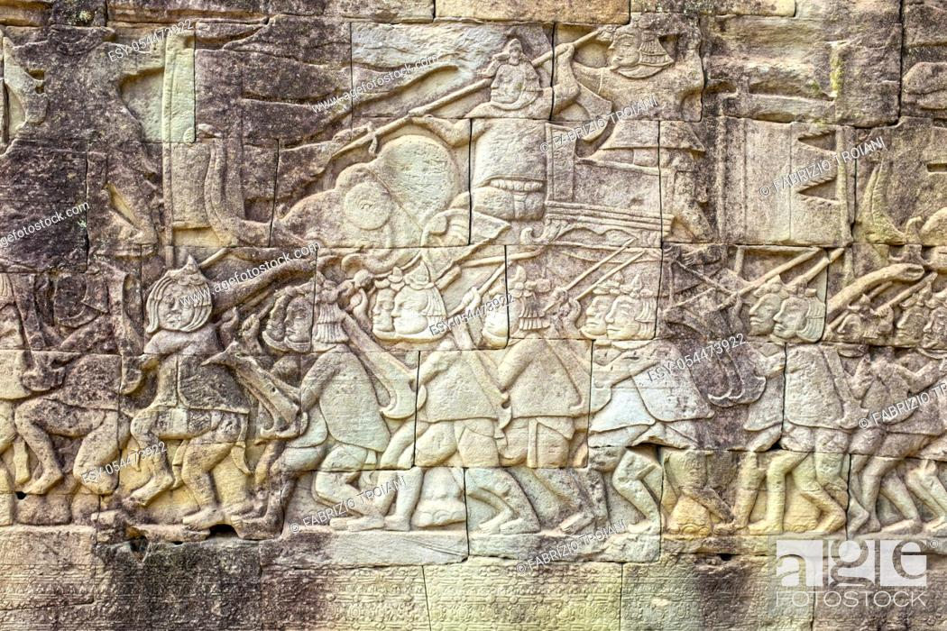 Stock Photo: Bas-relief in Prasat Bayon, Angkor Thom, Siem Reap, Cambodia, .