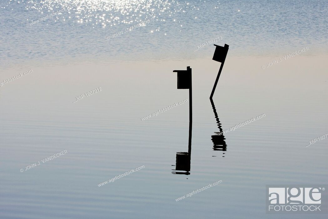 Stock Photo: Birdboxes silhouetted in a salt marsh, Richard DeKorte Park, Lyndhurst, NJ, USA.