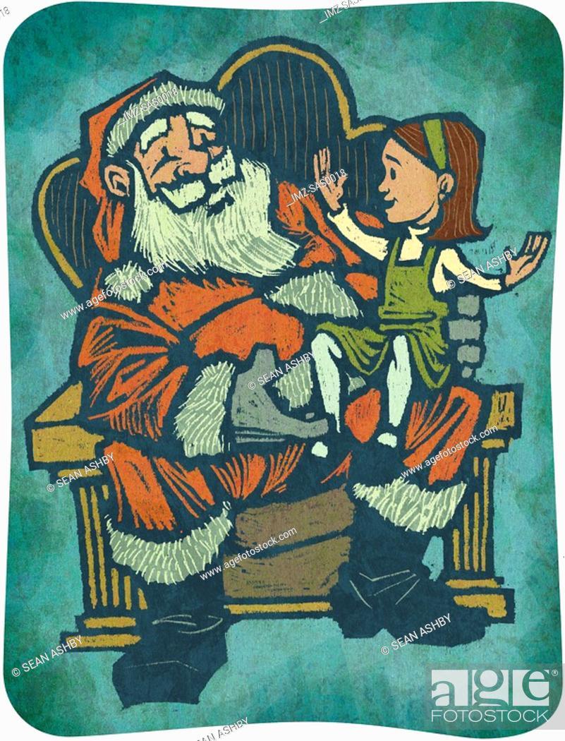 Stock Photo: A little girl sitting on Santas knee.