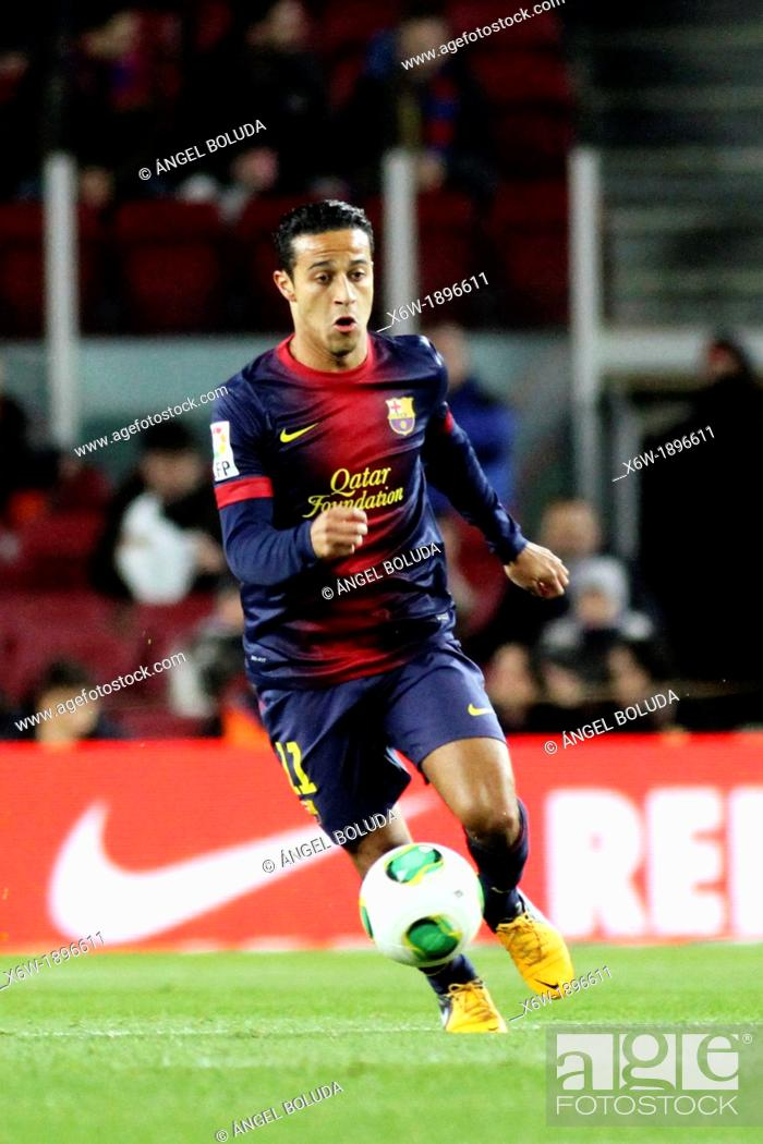 Stock Photo: 16 01 2013 Barcelona, Spain Thiago in action during the Spanish Copa del Rey game between Barcelona and Malaga from the Nou Camp.