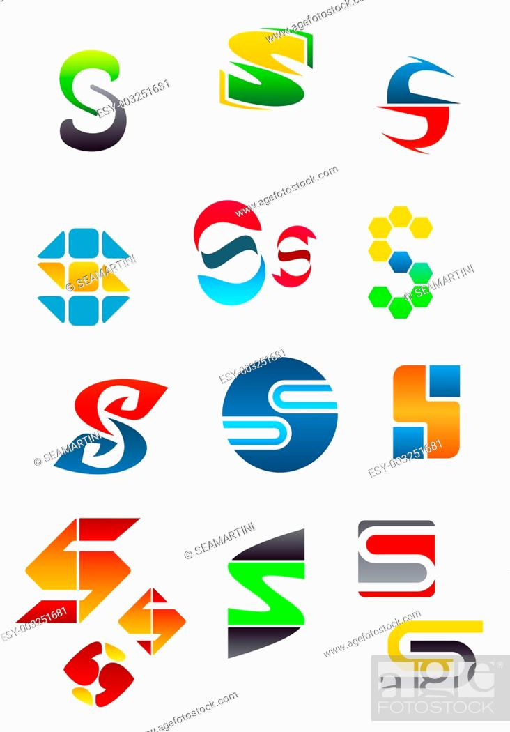 Stock Photo: Set of alphabet symbols and elements of letter S.