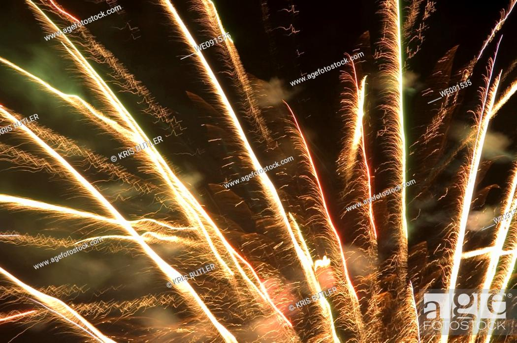 Stock Photo: Thunder in the Valley fireworks show 2006, Blairmore, Alberta.