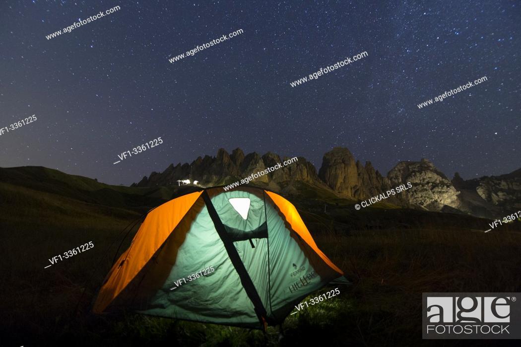 Stock Photo: A tent during night at Gardena. Dolomites, Trentino Alto Adige, Italy.