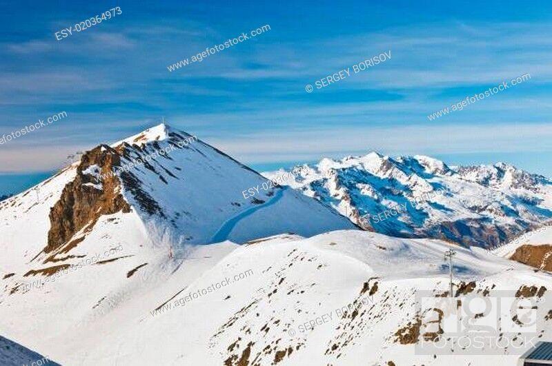 Stock Photo: Ski slopes in French Alps.
