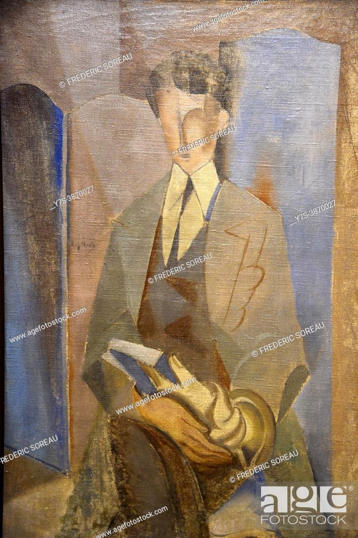 Stock Photo: Portrait of Roland Tual, 1921-1922, André Masson, Centre Pompidou Malaga modern art, Andalusia, Spain.