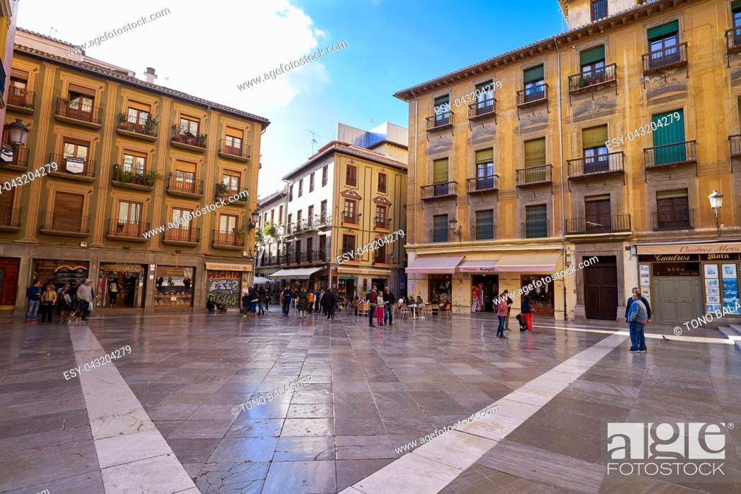 Stock Photo: Granada Pasiegas square near Cathedral in Spain of Andalusia.