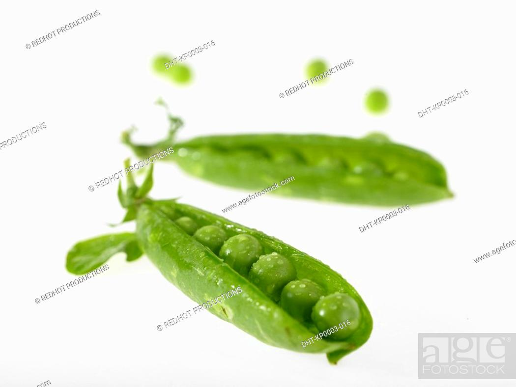 Stock Photo: Two peapods with peas.