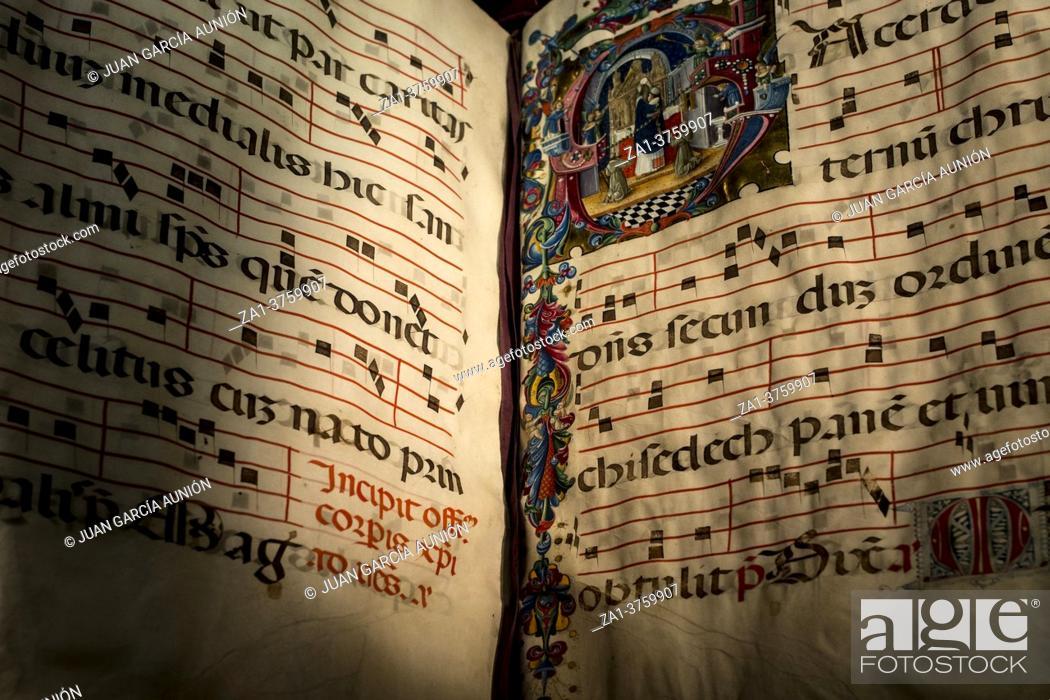 Stock Photo: Dublin, Ireland - Feb 20th, 2020: Illuminated liturgical choir book, 13th century. Northern Italy. Chester Beatty Library.