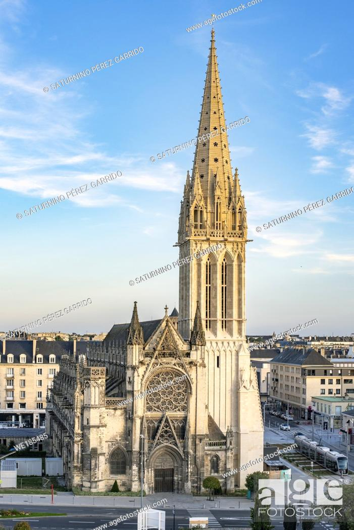 Stock Photo: Church of San Pedro in Caen seen from the Castle of Caen.