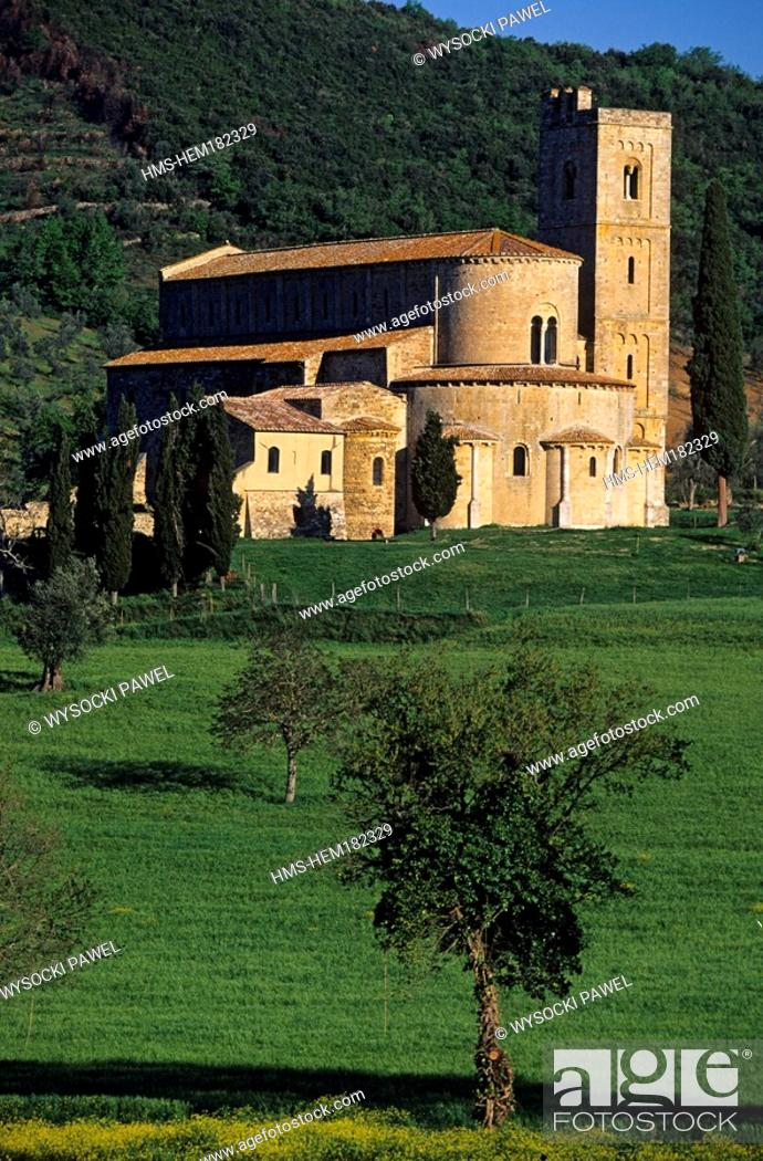 Stock Photo: Italy, Tuscany, San Antimo Abbey in the South of Siena.