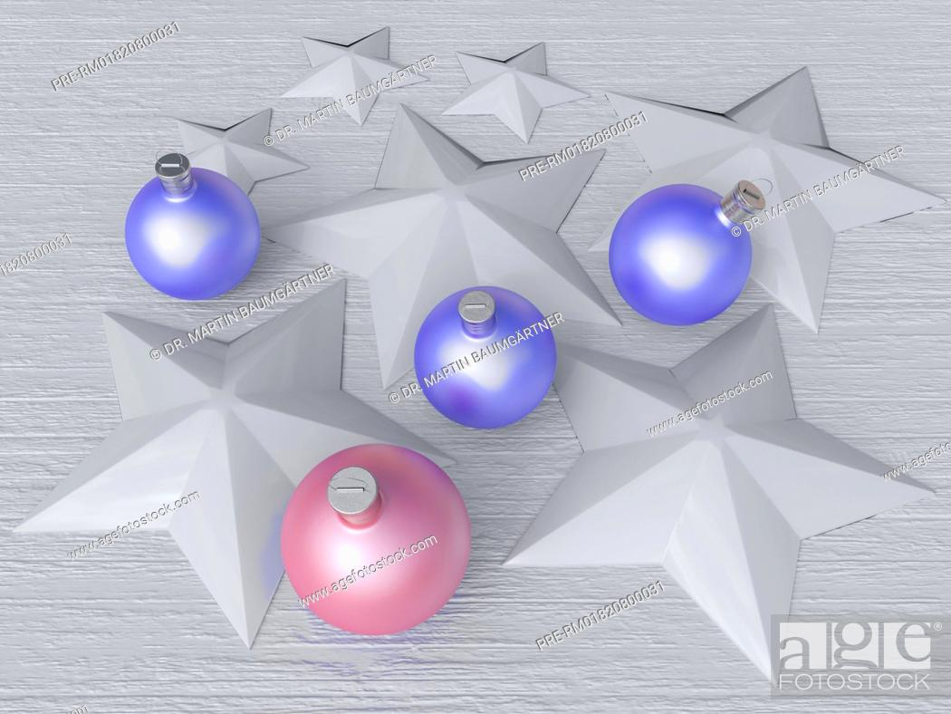 Christbaumkugeln Sterne.Christmas Baubles And Stars On White Wooden Surface Photo