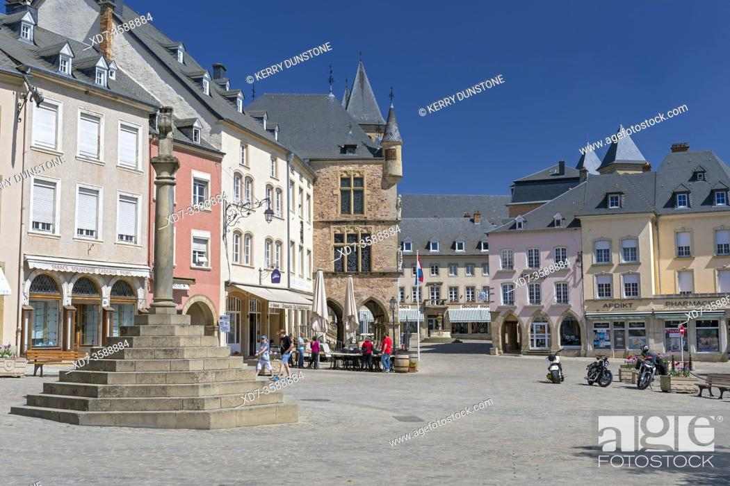 Stock Photo: Europe, Luxembourg, Echternach, Place du Marche with the Cross of Justice and historic Courthouse beyond.