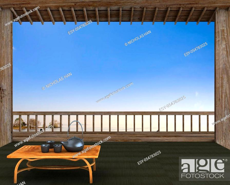 Stock Photo: The 3d rendering of nice room view with blue sky.