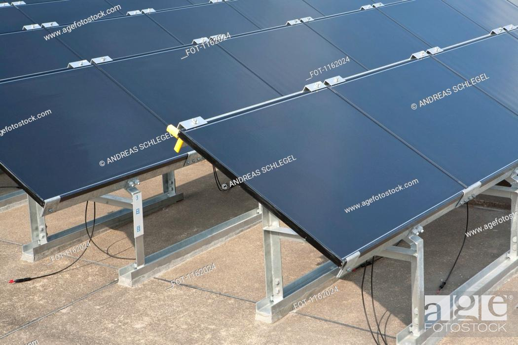Stock Photo: Thin film solar photovoltaic modules.