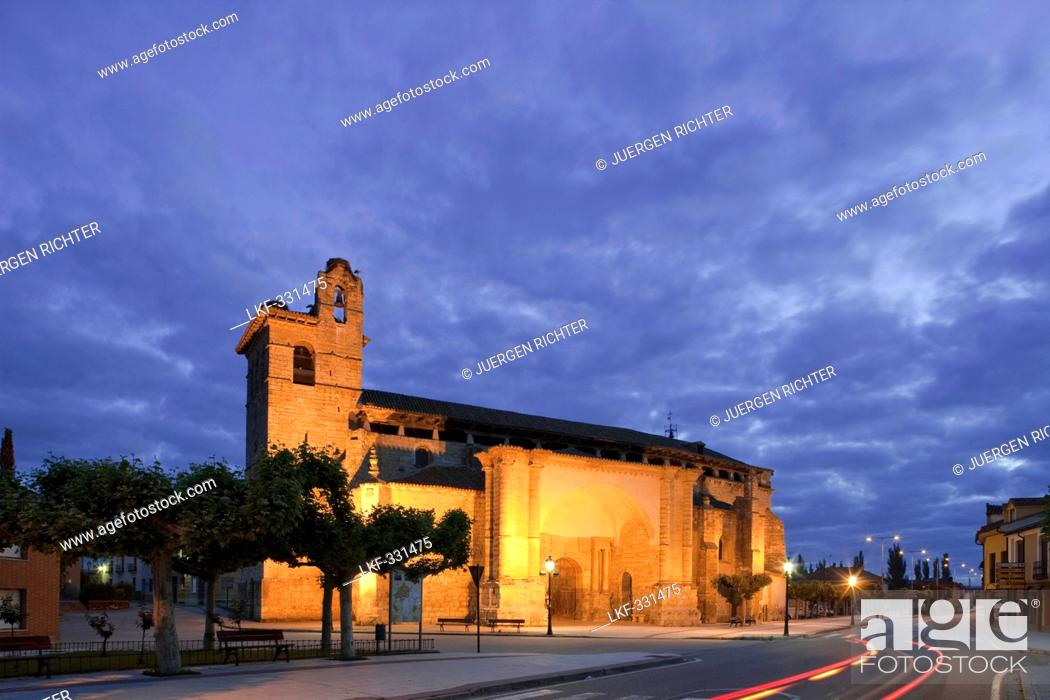 Stock Photo: View at the church Iglesia San Martin under clouded sky in the evening, Fromista, Province of Palencia, Old Castile, Catile-Leon, Castilla y Leon.