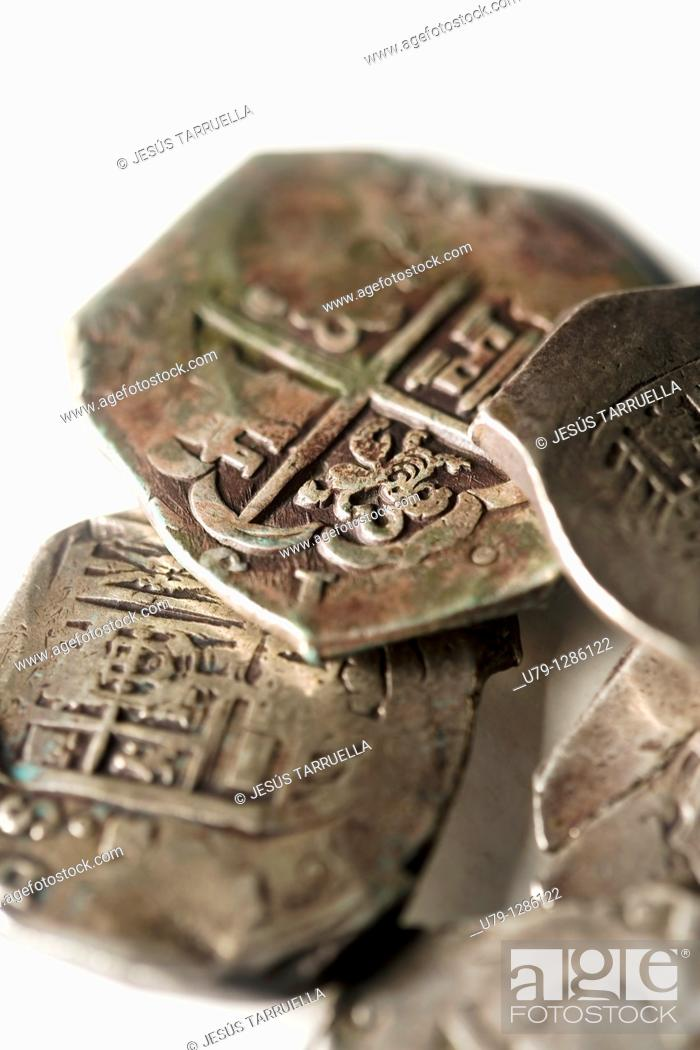 Stock Photo: Still life of old coins.