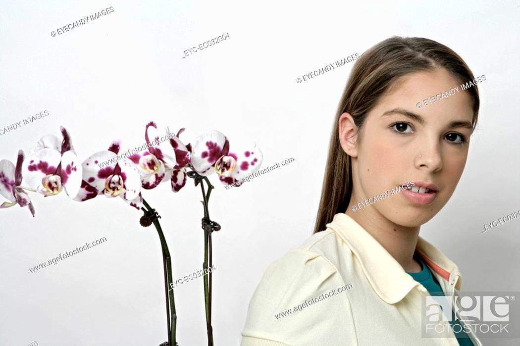 Stock Photo: Portrait of a teenage girl.