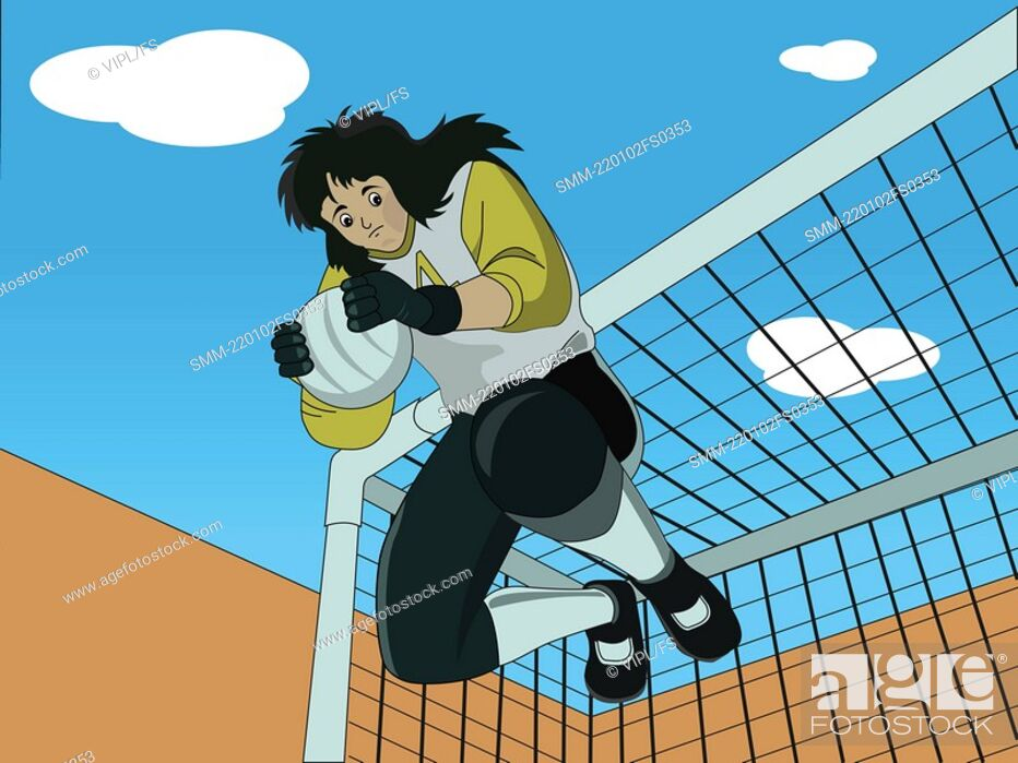 Stock Photo: Low angle view of a goalkeeper.