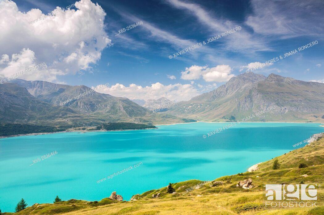 Stock Photo: Lac du Mont Cenis in the Maurienne valley, Savoie, Rhône-Alpes, France.