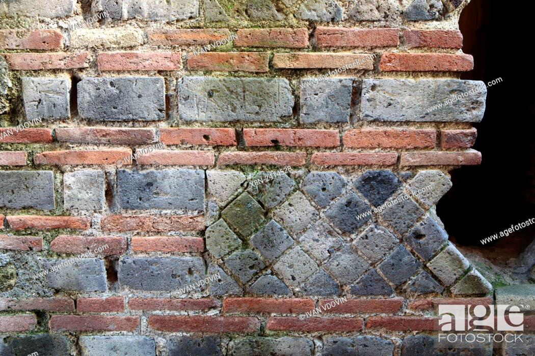 Stock Photo: House of Menander, opus mixtum, Pompeii, Campania, Italy.