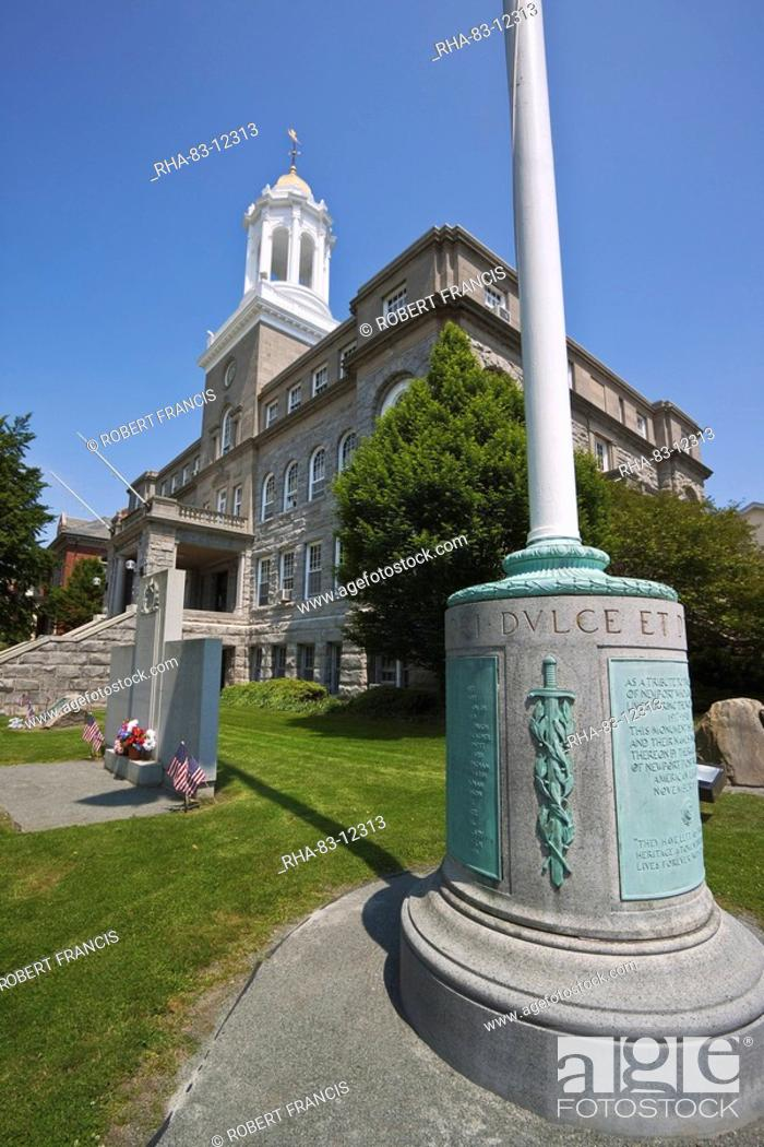 Stock Photo: World War I and World War II on left, memorials outside the City Hall on Broadway in historic Newport, Rhode Island, New England, United States of America.