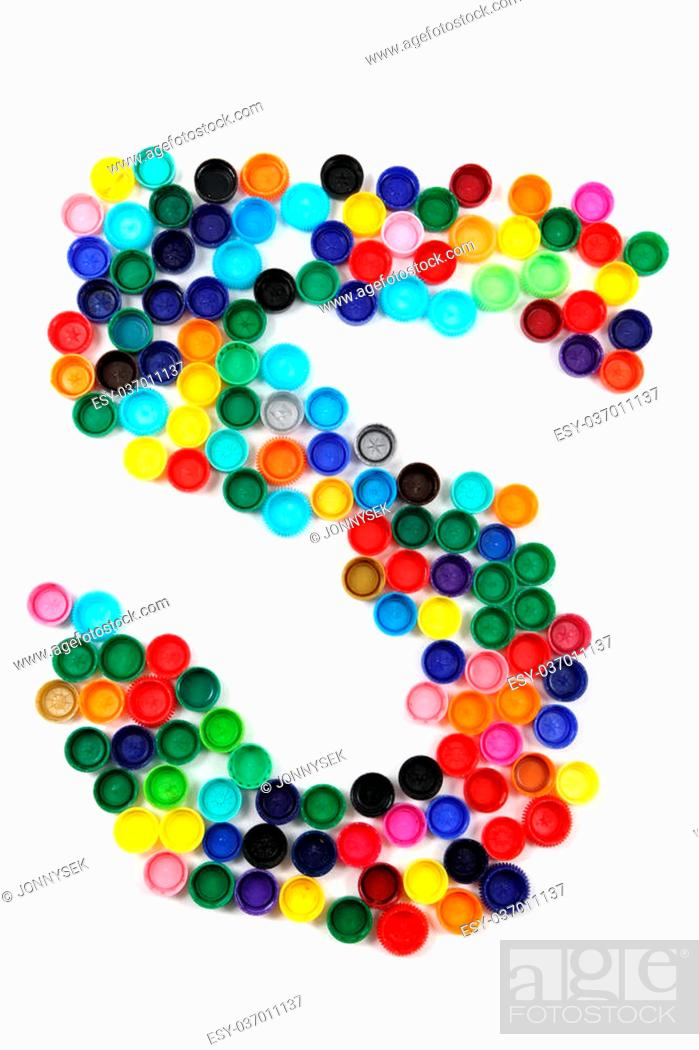 Stock Photo: 5 - number from the plastic caps isolated on the white background.