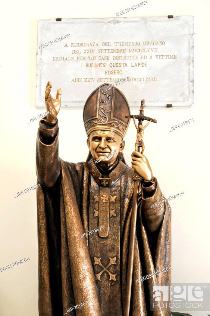 Statue Of Pope John Paul Ii Church Of San Martino Vescovo Burano Venice Veneto Region Italy Stock Photo Picture And Rights Managed Image Pic Ibr 2018671 Agefotostock