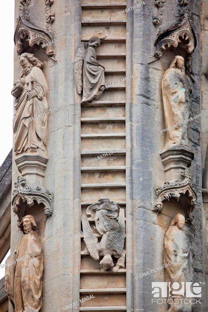 Stock Photo: The southern column depict Oliver King's dream during his visit in Bath in 1499. In his dream he say Heavenly host on high with angels ascending by ladder.