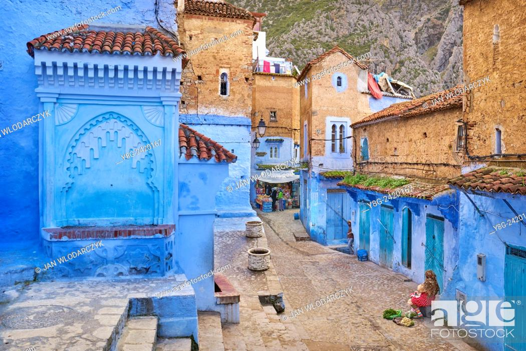 Stock Photo: Blue painted walls in old medina of Chefchaouen, Morocco, Africa.
