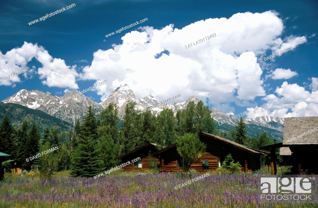 Stock Photo: Grand Teton National Park, in the Rocky Mountains range is a serious of North-south running peaks, with a distinctive shape skyline.