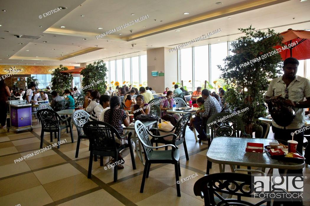 Stock Photo: People at food court in a shopping mall, Express Avenue, Chennai, Tamil Nadu, India.