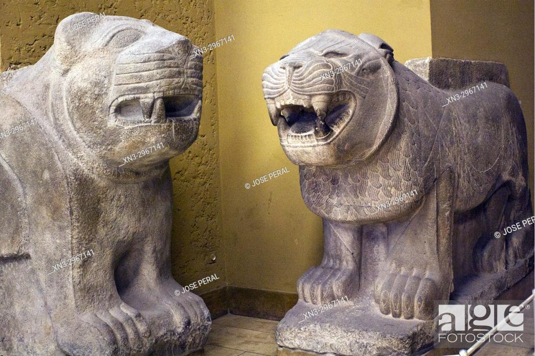 Stock Photo: Lions of Sam'al, Inner Gate of the Citadel of Sam'al/Zincirli in Turkey, Pergamon Museum, Museum Island, Berlin, Germany, Europe.