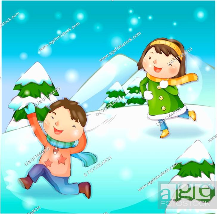 Stock Photo: chasing, snow, couple, boy, girl, child.