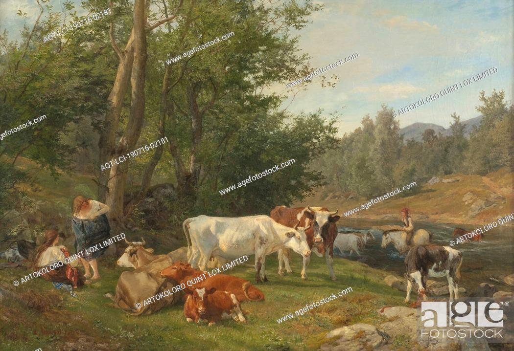 Stock Photo: Anders Askevold, Landscape with Cattle, Landscape with livestock, painting, landscape art, 1861, oil on canvas, Height, 88 cm (34.
