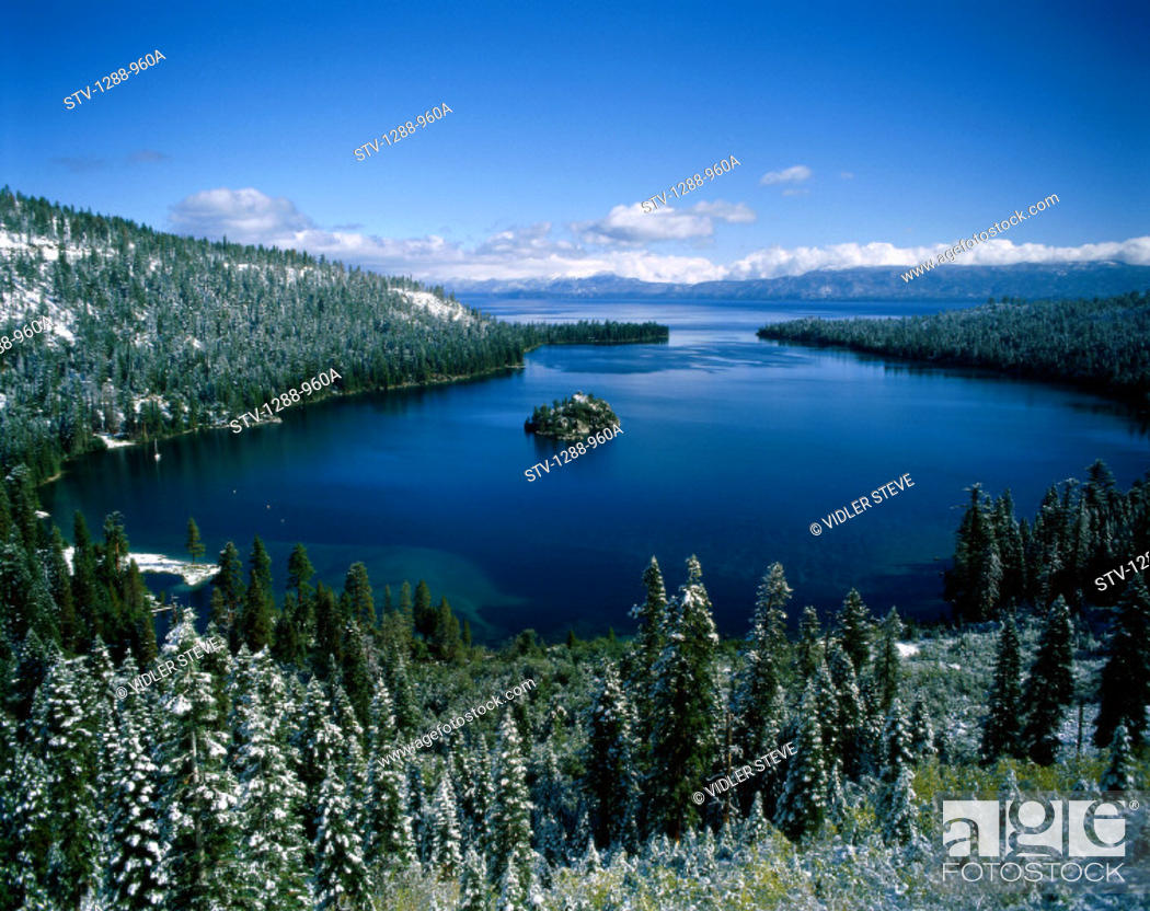 Stock Photo: America, Cold, Forest, Frost, Holiday, Island, Isolated, Isolation, Lake, Lake tahoe, Landmark, Nevada, Serene, Snow, Tahoe, Tou.