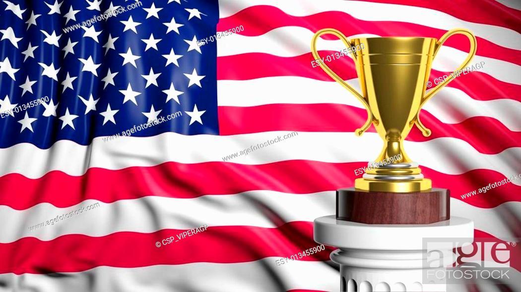 Imagen: Golden trophy with American flag in background.